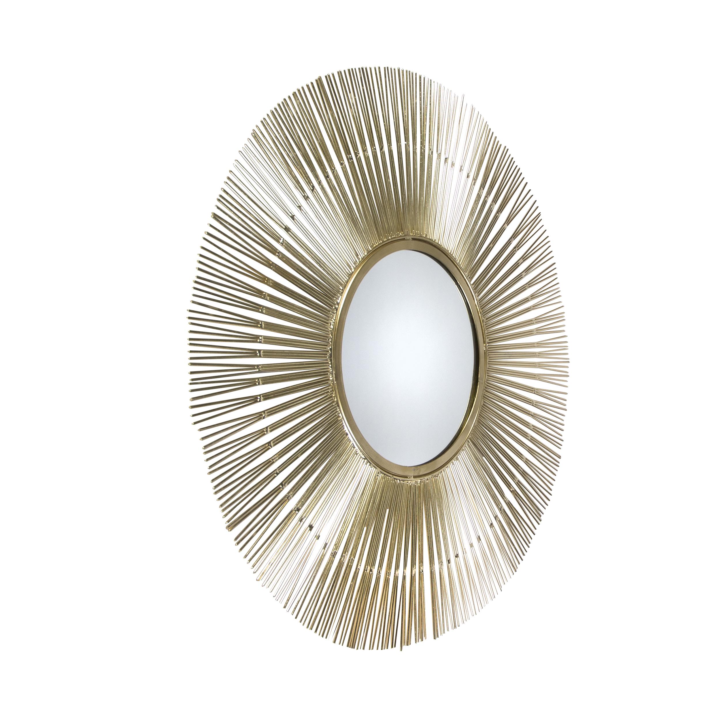 Art deco ronde spiegel 74cm goud - Inti