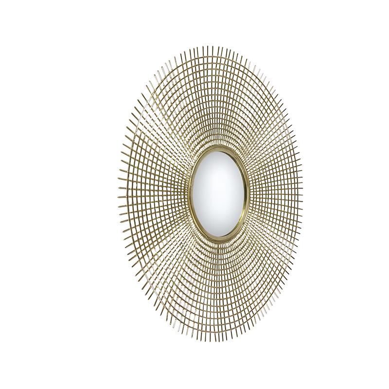 Art deco ronde spiegel 78cm goud - Edda