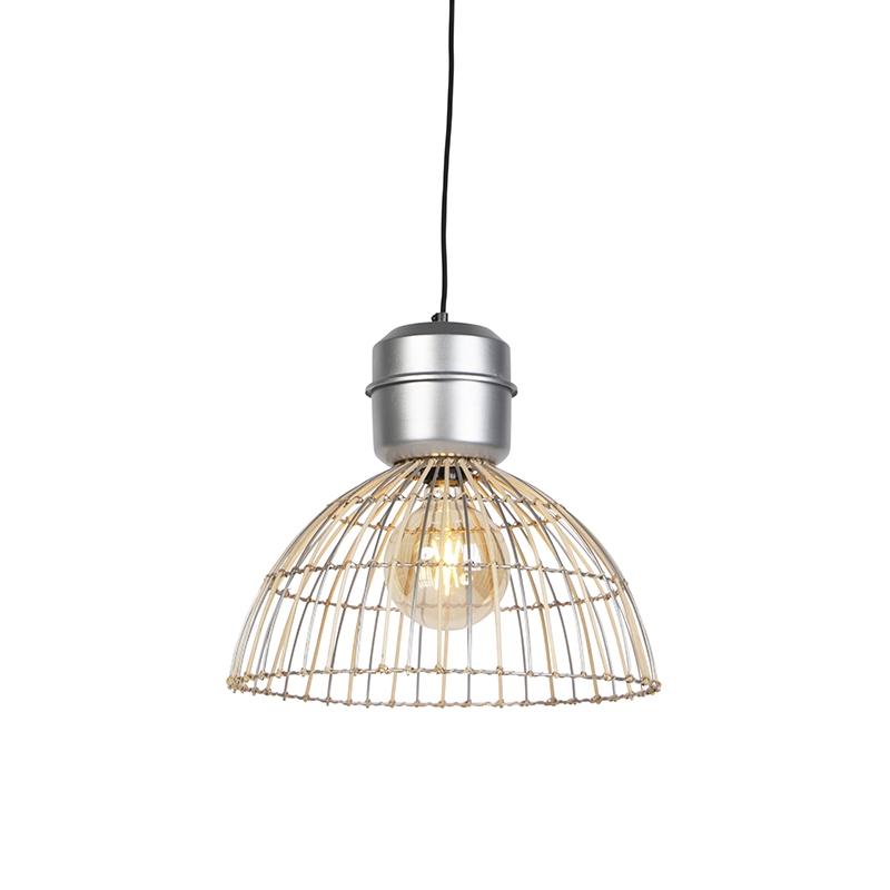 Landelijke ronde hanglamp 40cm rotan met stalen details - Magna Rattan