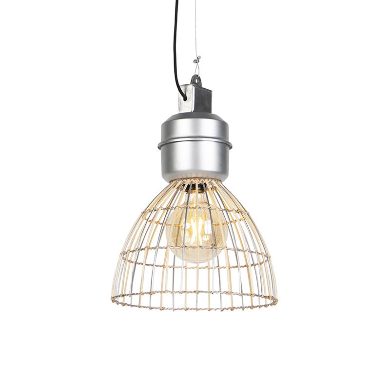 Landelijke hanglamp rotan met aluminium - Anteros Rattan