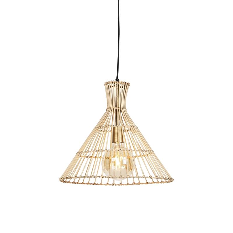 Landelijke ronde hanglamp 40cm rotan met messing details -Vida