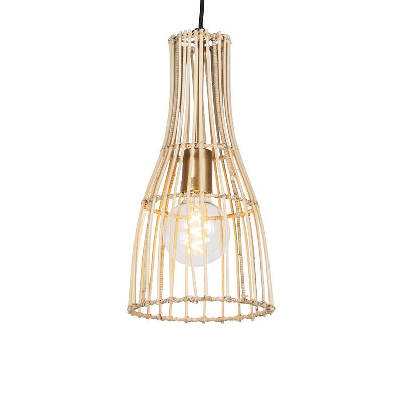 Landelijke hanglamp 20cm rotan met messing details -Botello