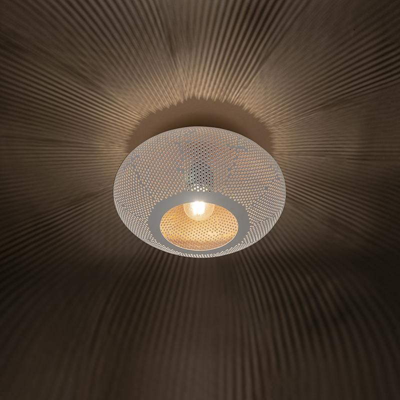 Oosterse plafondlamp 25cm wit met koper - Radiance