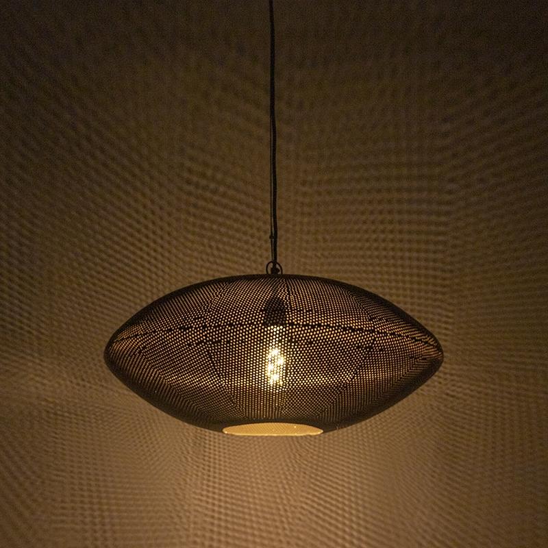 Oosterse hanglamp 60cm zwart met goud - Radiance