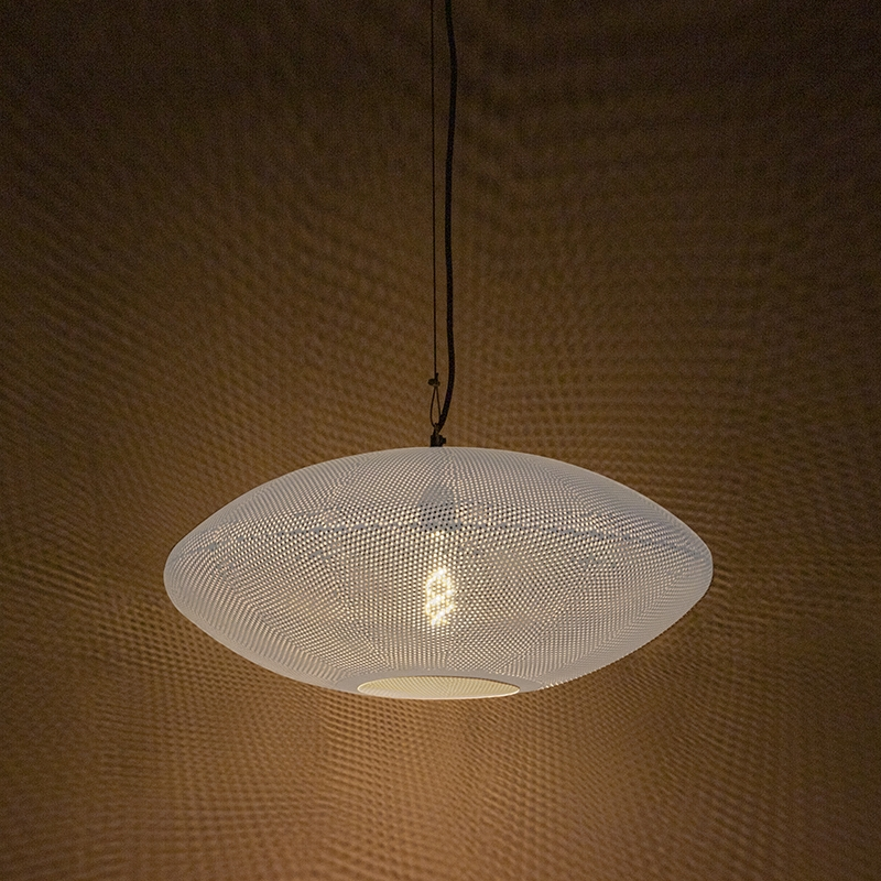 Oosterse hanglamp 60cm wit met koper - Radiance