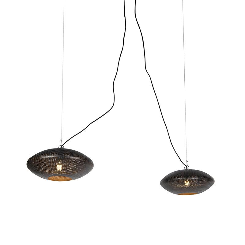 Oosterse Hanglamp 40cm 2-lichts Zwart Met Goud - Radiance