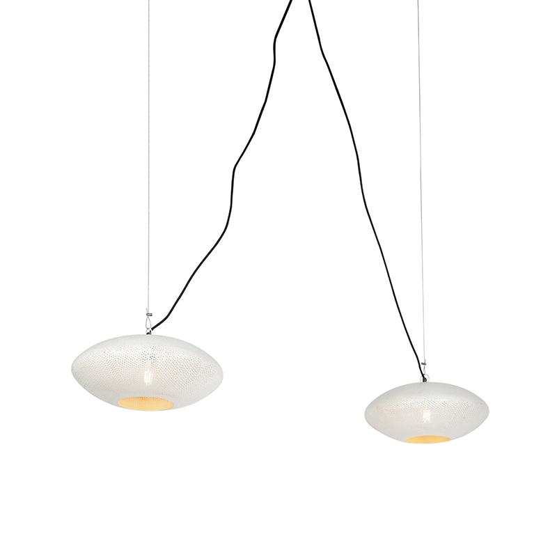 Vintage Ronde Hanglampen 40cm 2-lichts Wit Met Koper - Radiance