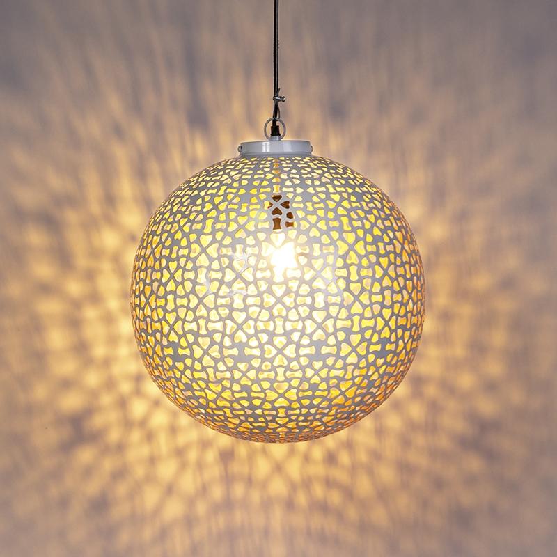 Vintage bolvormige hanglamp 45cm wit met koper - Radiante