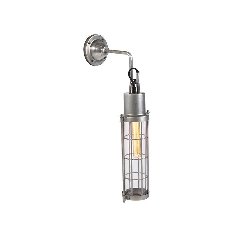 Industri�le wandlamp met rooster zink - Trent
