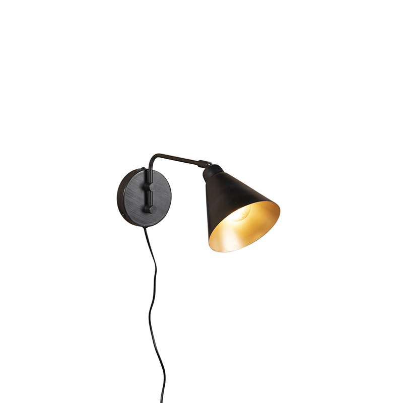 Industriele wandlamp antraciet 40 cm verstelbaar - Asha