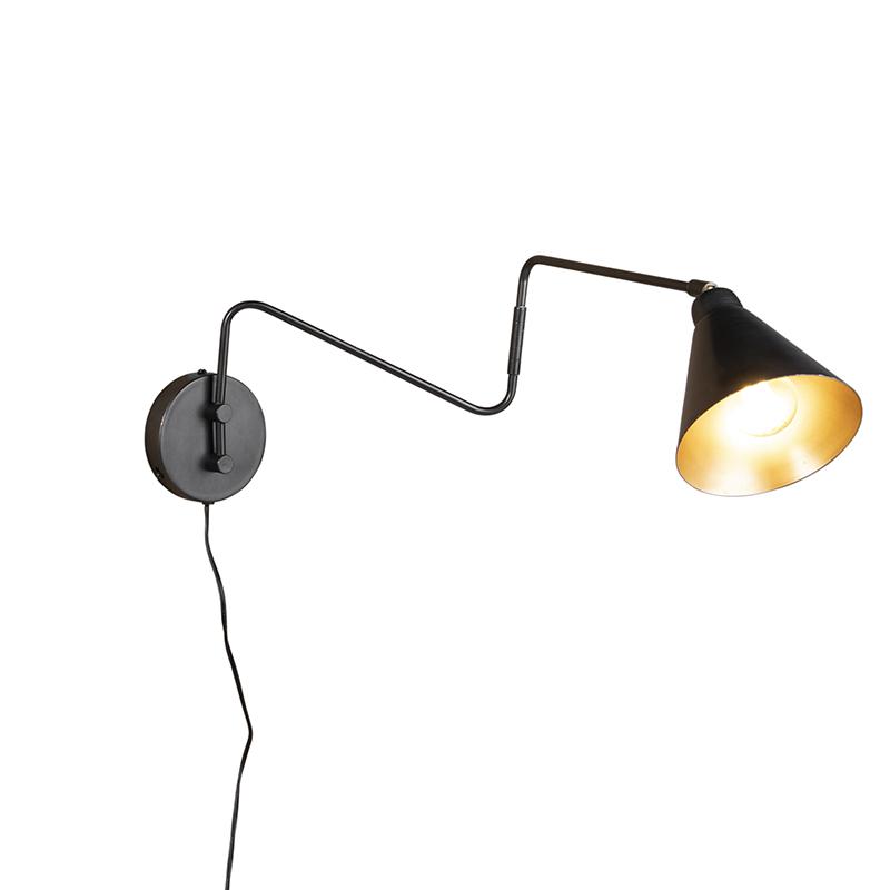 Industriele wandlamp antraciet 85 cm verstelbaar - Asha