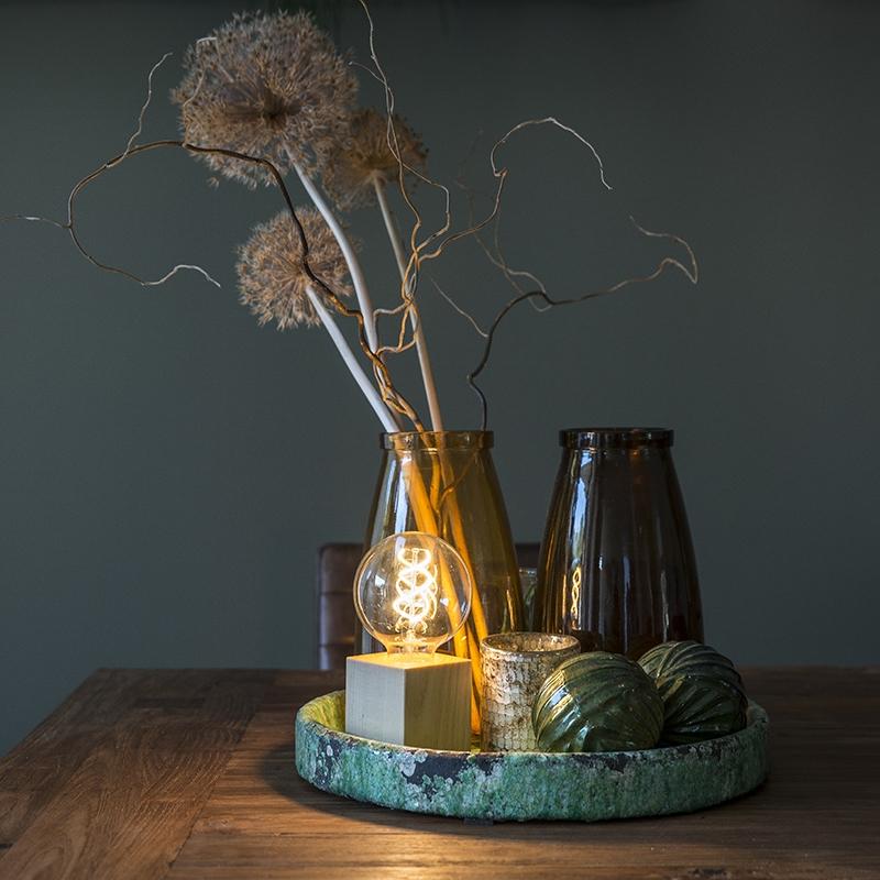 Moderne vierkante tafellamp naturel hout Bloc