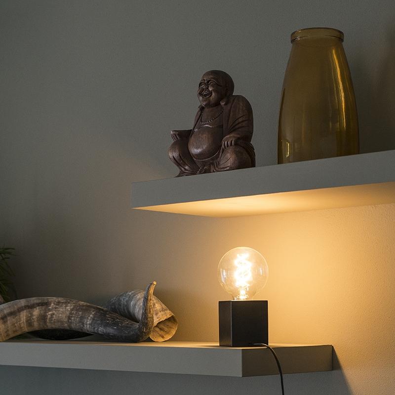 Industriele vierkante tafellamp zwart hout - Bloc