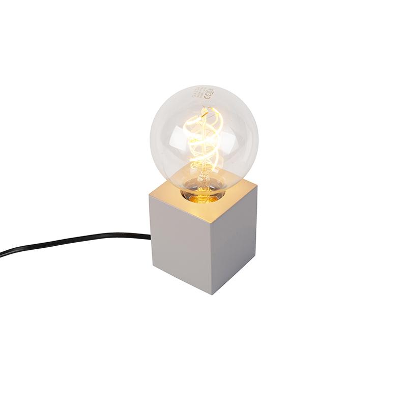 Industriele vierkante tafellamp grijs hout - Bloc