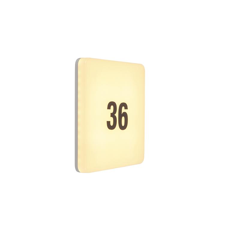 Nowoczesna kwadratowa lampa zewnętrzna LED numer domu - Plater