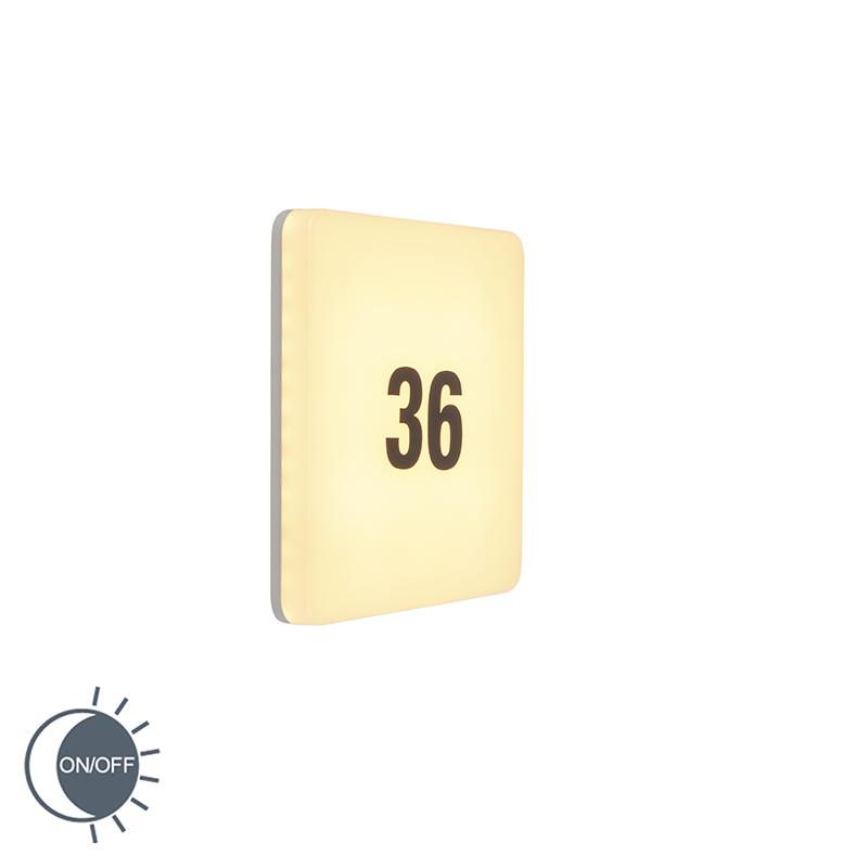 Wandlamp wit vierkant incl. LED, licht-sensor, huisnummer - Plater