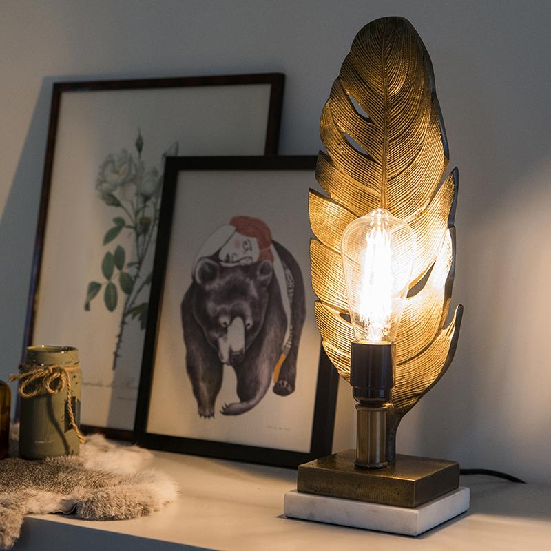 Art Deco tafellamp brons met marmeren voet - Leaf