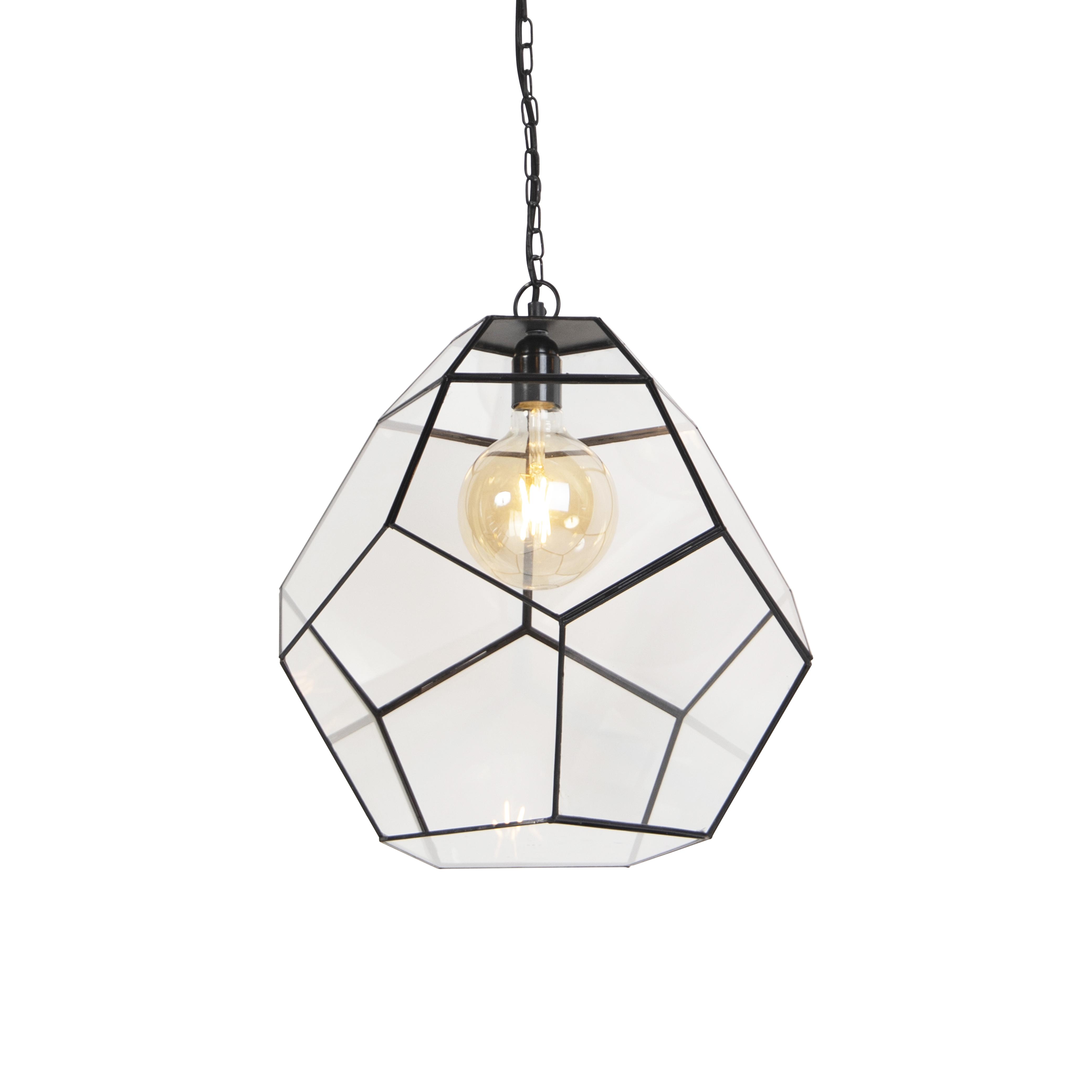 Obraz przedstawiający Art deco lampa wisząca czarna z przezroczystym szkłem - SconePrzemysłowy,Wiejski/ Rustykalny / Vintage Oswietlenie wewnetrzne