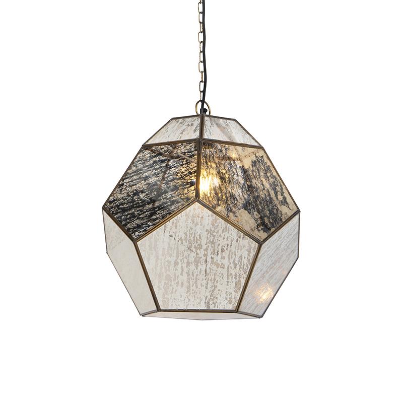 Vintage hanglamp messing met antiek glas - Scone