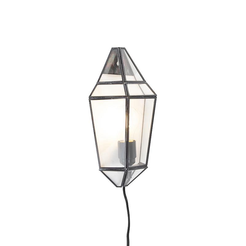 Art Deco wandlamp zwart met helder glas - Scone