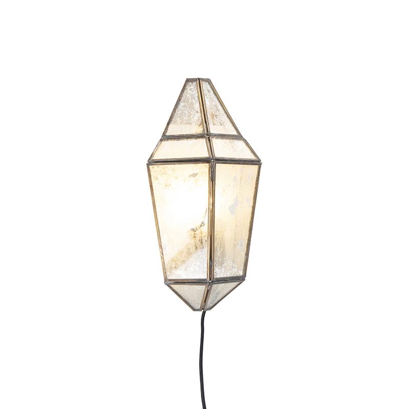 Immagine di Applique Art Déco ottone con vetro antico - SCONE