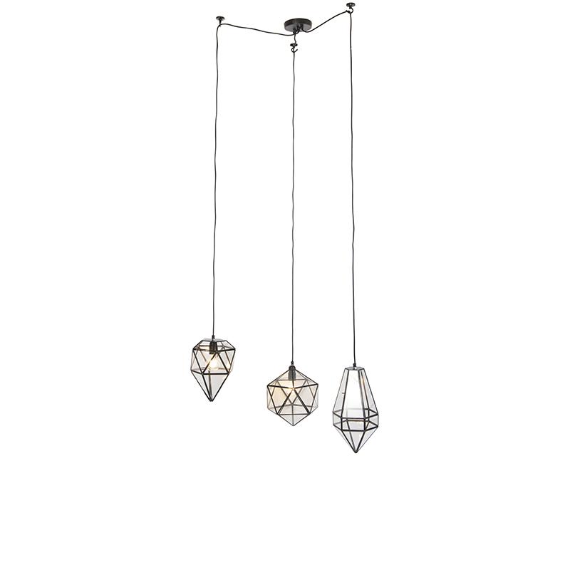 Obraz przedstawiający Art deco lampa wisząca 3 czarna z przezroczystym szkłem - Scone klasyczny/Antyczny Oswietlenie wewnetrzne