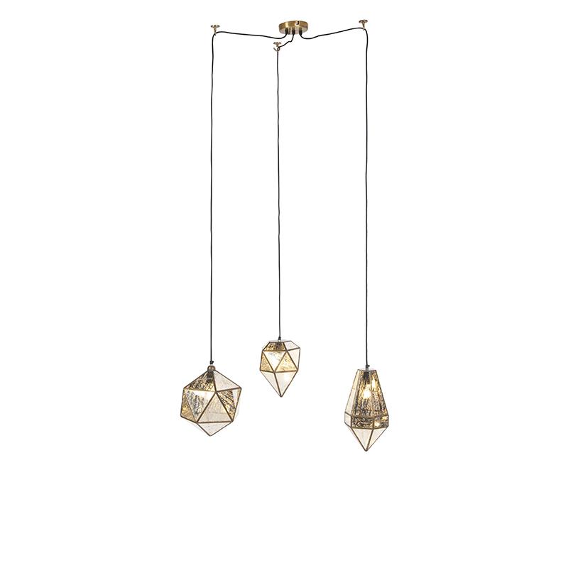 Obraz przedstawiający Art deco lampa wisząca 3 mosiądz z antycznym szkłem - Scone klasyczny/Antyczny,Przemysłowy,Wiejski/ Rustykalny / Vintage Oswietlenie wewnetrzne