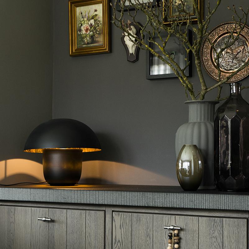 Moderne ronde tafellamp 40cm zwart met gouden binnenkant - Canta