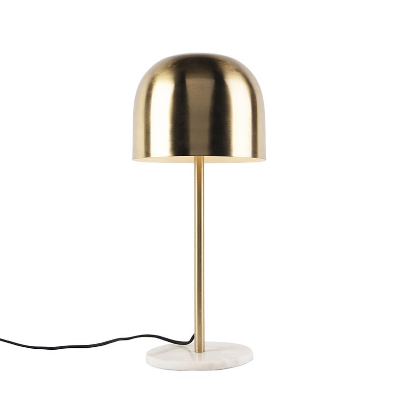 Obraz przedstawiający Art deco lampa stołowa złota z marmurową podstawą - Siren ArtDeco Oswietlenie wewnetrzne
