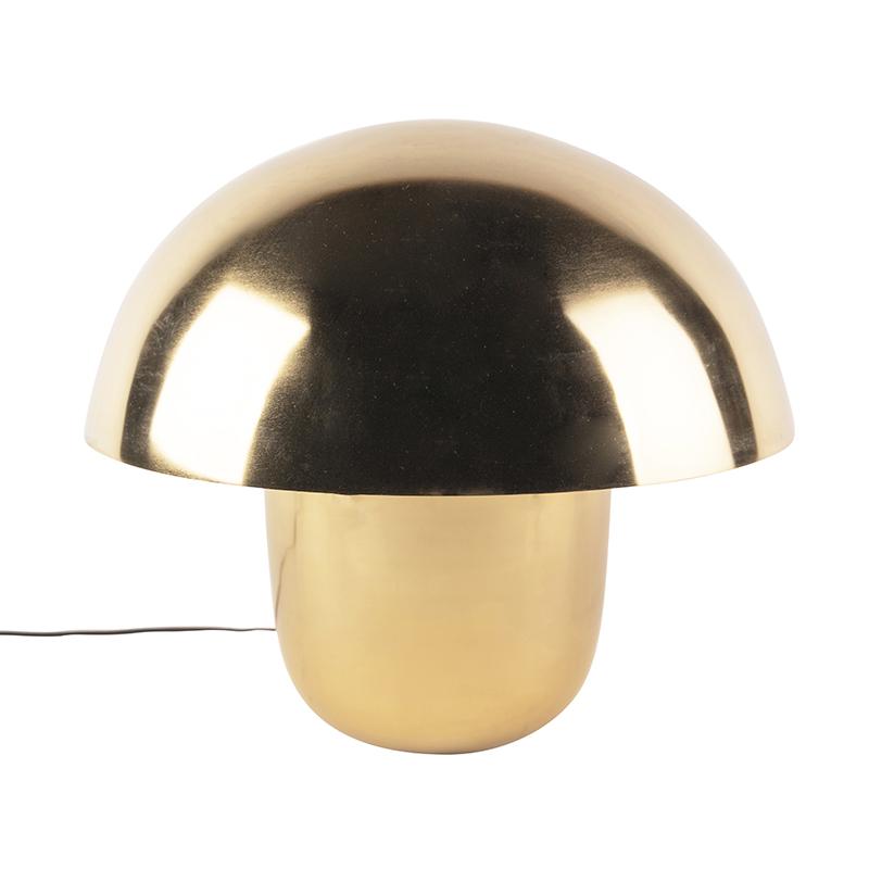 Moderne ronde tafellamp 50cm goud met witte binnenkant - Canta
