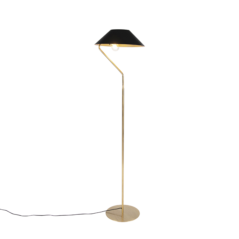 Art deco vloerlamp met zwart en goudkleurige kap - Knick