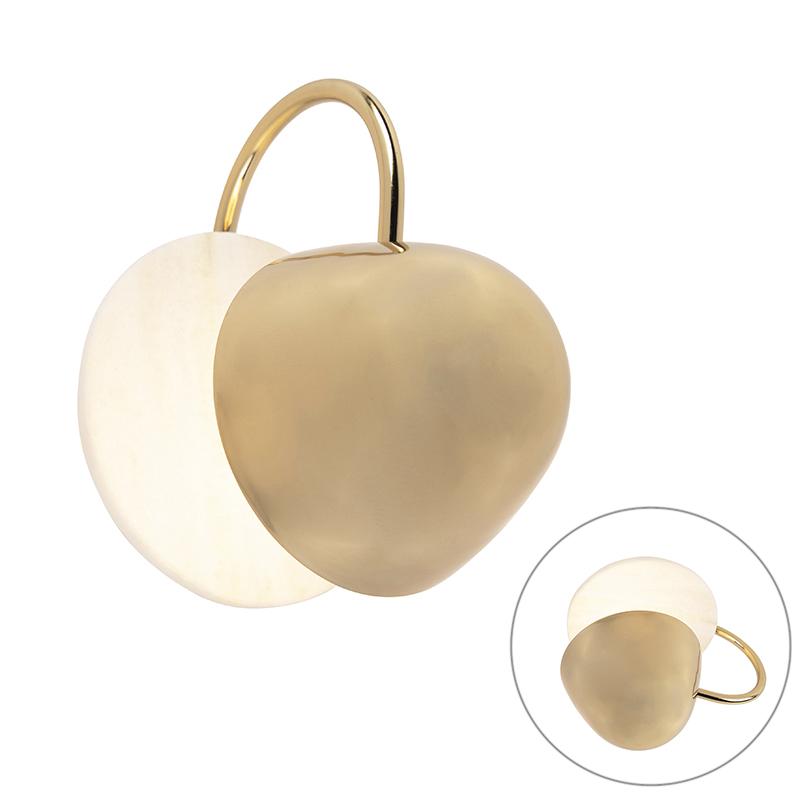 Art deco ronde wandlamp goud met marmer - Siren