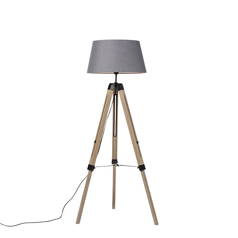 Landelijke vloerlamp hout met grijze kap - Tripod