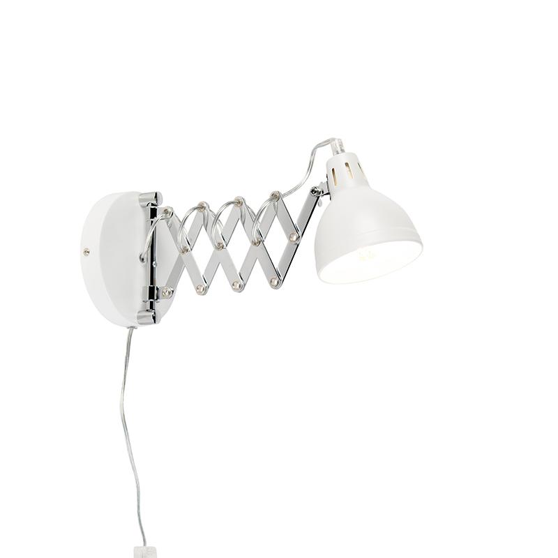 Industriële wandlamp wit verstelbaar Forbici