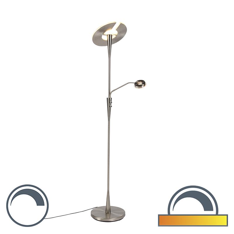 Moderne vloerlamp staal met leeslamp incl. LED - Moderno