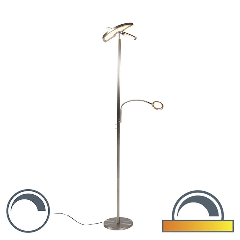 Nowoczesna lampa podłogowa stal LED ramię do czytania - Moderno II