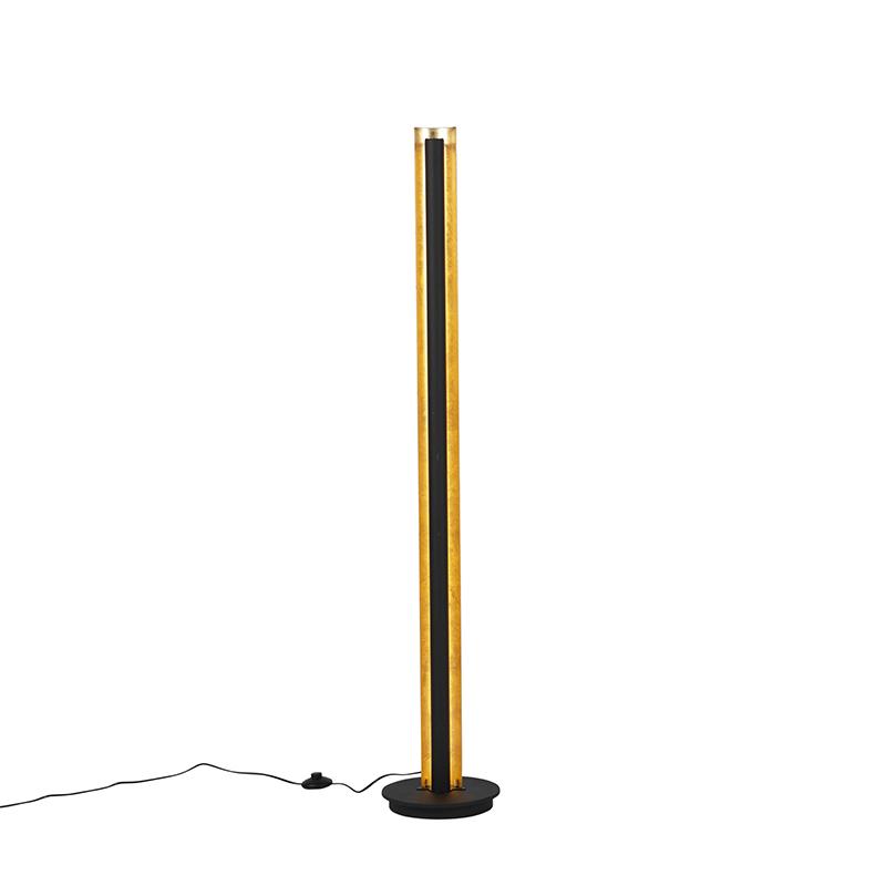 Vloerlamp zwart met goud incl. LED 3 staps dimbaar - Malta