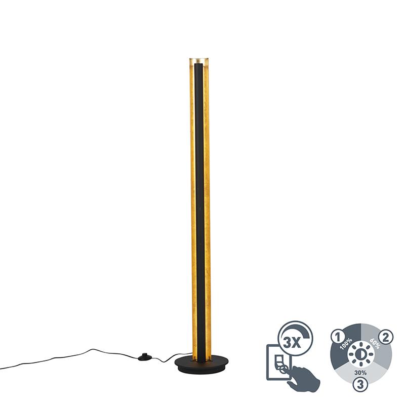 Moderne rechte vloerlamp zwart met goud incl. LED 3-staps dimbaar - Malta