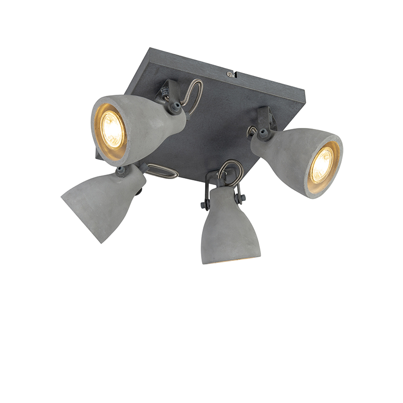 Industriele spot grijs beton 4-lichts - Creto