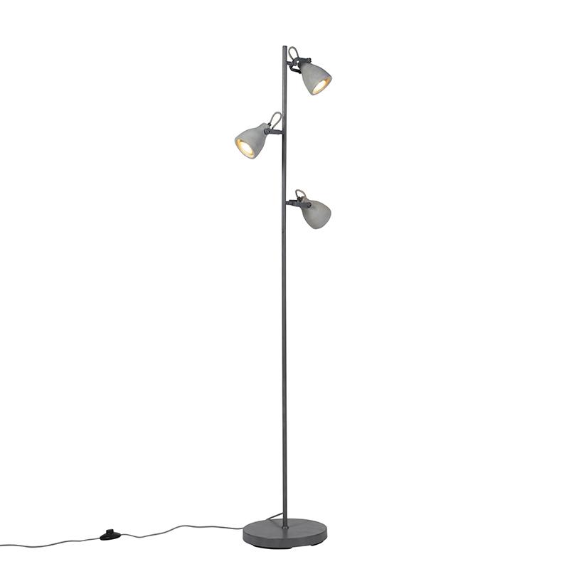 Industriële Vloerlamp Grijs Beton 3-lichts - Creto