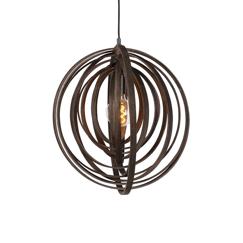 Designerska okrągła lampa wisząca brązowa drewno - Arrange