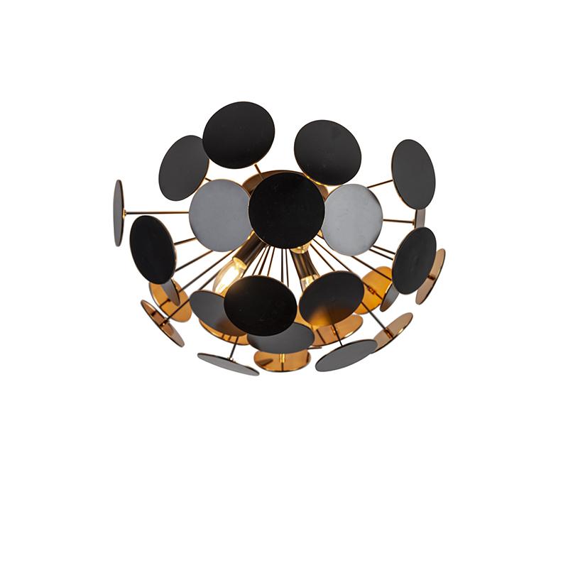 Design plafonniere zwart met goud 3-lichts - Cerchio