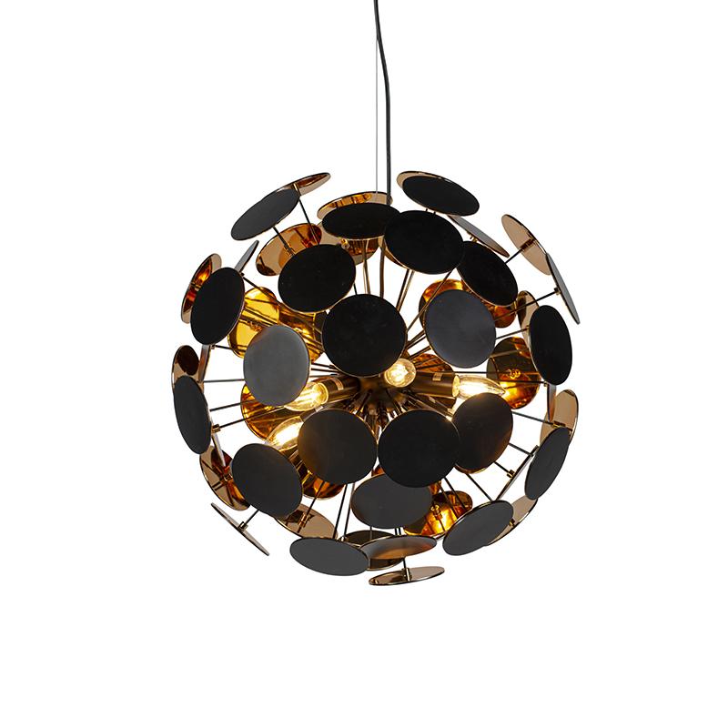 Nowoczesna lampa wisząca czarna ze złotymi 6 lampkami - Cerchio