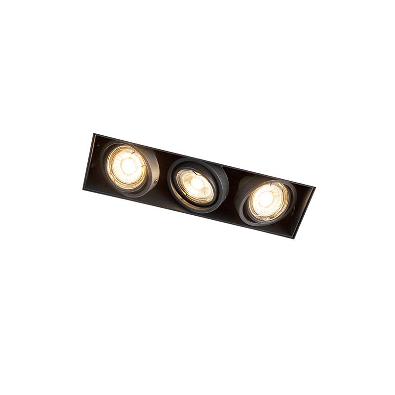 Design rechthoekige inbouwspot zwart 3-lichts GU10 - Oneon Trimless