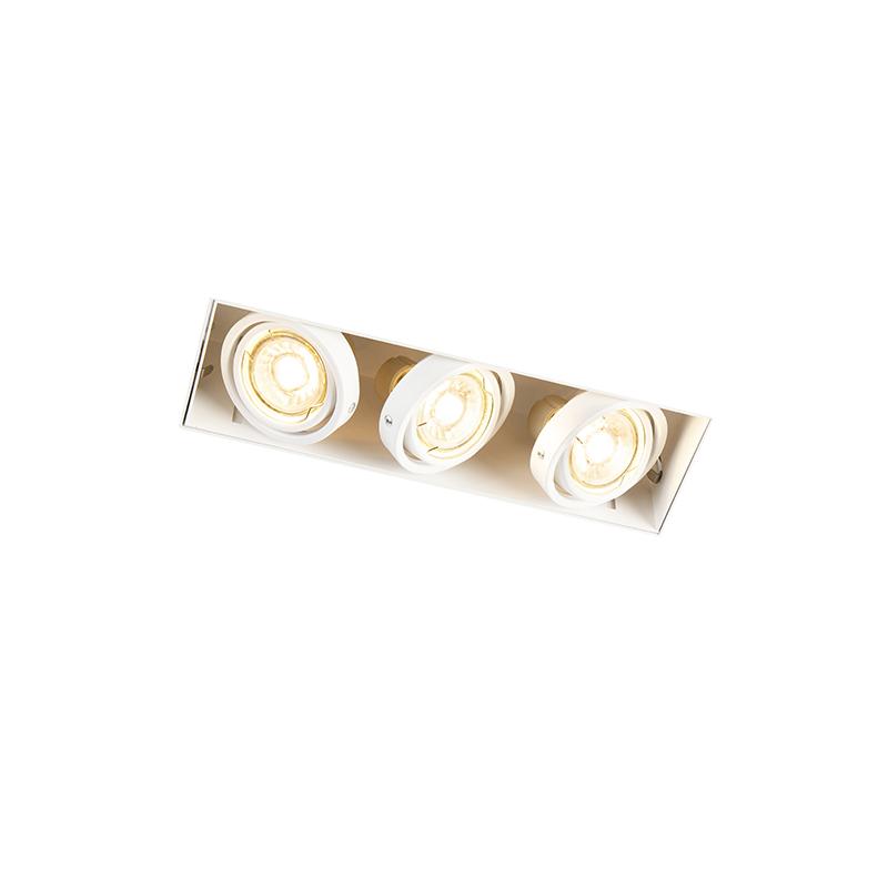 Design rechthoekige inbouwspot wit 3-lichts GU10 - Oneon Trimless
