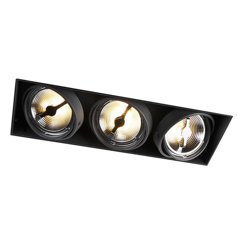 Design rechthoekige inbouwspot zwart 3-lichts AR111 - Oneon Trimless