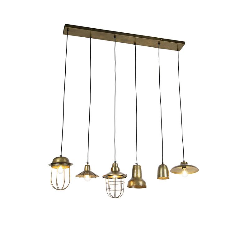 Vintage hanglamp brons 6-lichts - Mixo