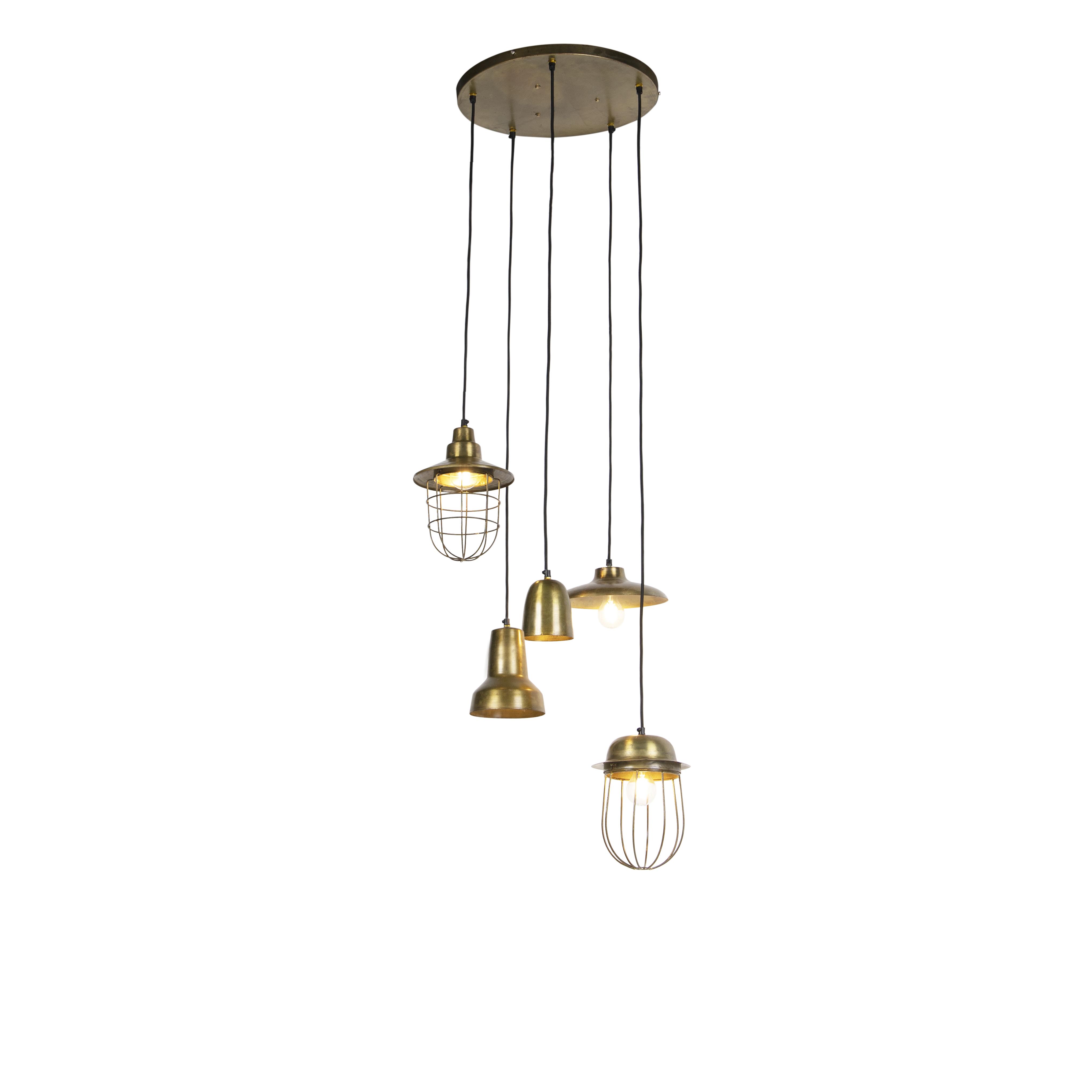Vintage combinatie van 5 hanglampen brons - Mixo