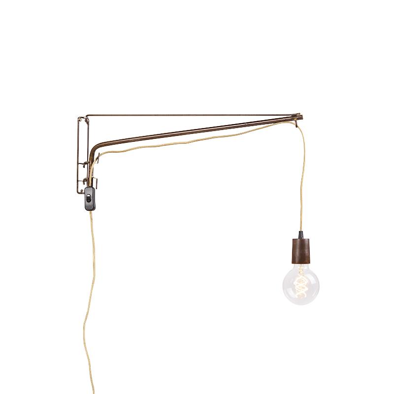 Vintage verstelbare wandlamp 60cm roest met jute snoer - Hook