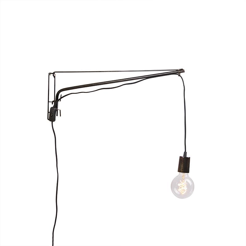 Vintage verstelbare wandlamp 60cm staal met zwart stoffen snoer - Hook